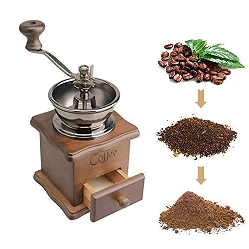 Molinillo de café manual de madera vintage de cerámica ant
