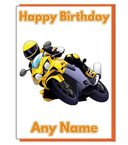 Amarillo moto personalizado tarjeta de cumpleaños–cualquier nombre y edad