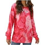 CHMORA - Maglia da donna con stampa tie-dye, a maniche lunghe, girocollo, collo largo, da indossare per autunno e inverno Rosso M