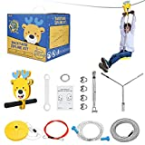 InLoveArts 24m Zip Wire Kit for Kids with Stainless Steel Spring Brake and Seat Zip Lines For Kids and Adults, Zip Wire Kit for Garden Loadable up to 113Kg