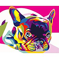 数字によるDIY絵画数字による犬の着色動物キット手描きの絵画キャンバスにアートを描くギフト家の装飾、50x40cmフレームなし