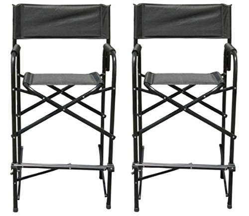 Tall Folding Make Up Artist Directors Chair / Stool with Wide Seat and Padded Armrest, Lightweight and Portable(Save on Shipping with Pack of 2)