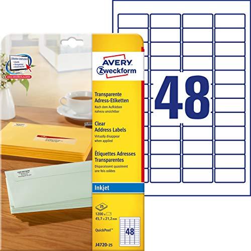 AVERY Zweckform J4720-25 Adressetiketten/ Adressaufkleber (45,7x21,2mm auf DIN A4, bedruckbar, selbstklebend, ideal als Absenderetiketten, für Inkjet-Drucker, 1.200 Etiketten auf 25 Blatt) transparent