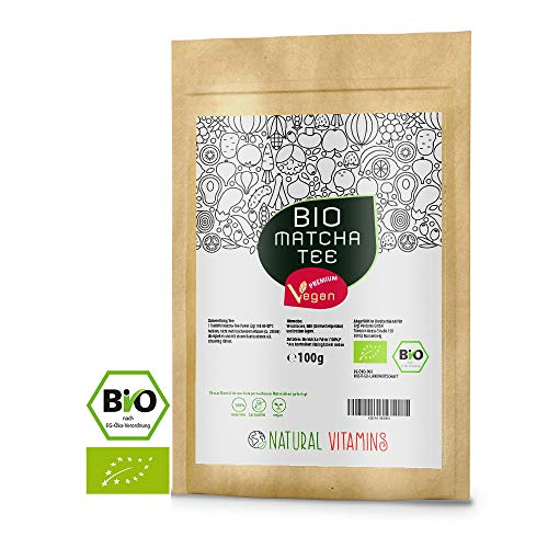 NATURAL VITAMINS® Bio Matcha aus Japan I Matcha Tee Pulver fein gemahlen I Laborgeprüfte Qualität 100% natürlich I vegan ohne unerwünschte Zusätze I Aromaschutzbeutel wiederverschließbar I 100g