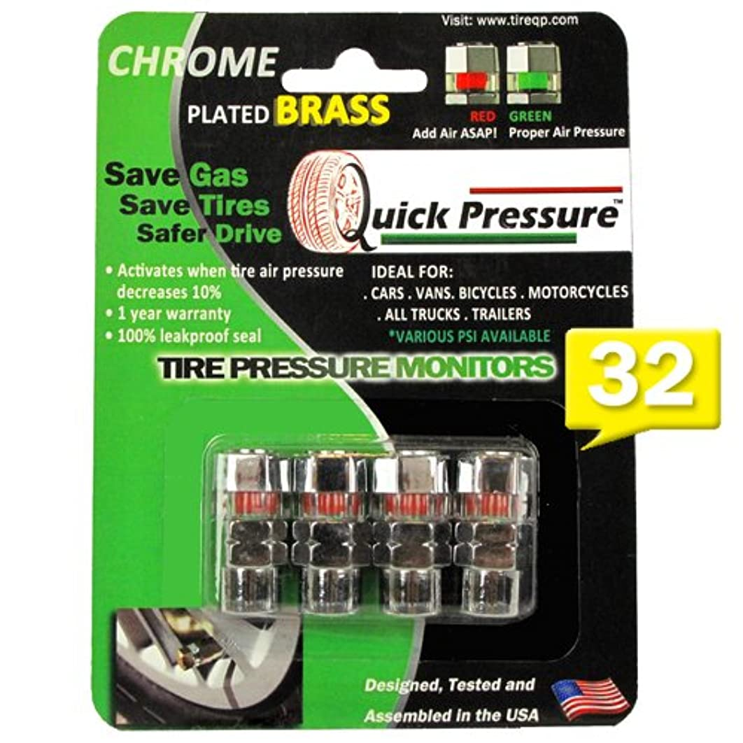 Quick Pressure QP-000032 Chrome Plated Brass 32 psi Tire Pressure Monitoring Valve Cap, (Pack of 4)