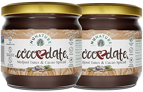 NUNATURE Cocodate Dates And Cacao Spread - 2 Pack Of Our 100% Natural Chocolate Date Spread, Vegan, Keto & Paleo Friendly, Gluten & Dairy Free Snack, Non-GMO, Sugar-free