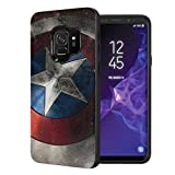Capsule Case Compatible with Samsung Galaxy S9 [Embossed Diagonal Lines Hybrid Dual Layer Slim Armor Case Black] - (Rock Star)