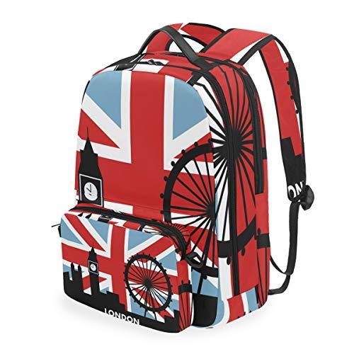 Mochila Desmontable con la Bandera británica de Londres, para Estudiante, Escuela, Viajes, Senderismo, Camping, portátil, Mochila