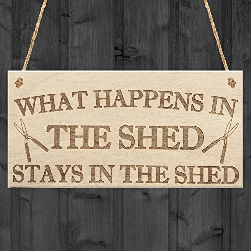 RED OCEAN What Happens In The Shed Stays In The Shed Garden Hanging Plaque Tools Gift Sign