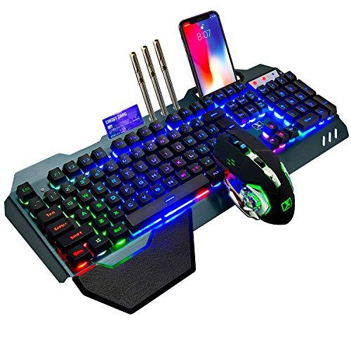 Juego combinado de ratón con teclado recargable inalámbrico de 2,4 GHz Batería larga de 4800 mAh 16 modos de color Teclado de jugador de tacto mecánico con LED RGB 2400 DPI Ratón óptico de res