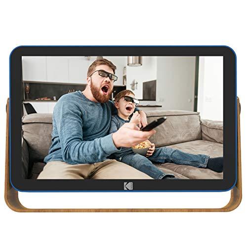 KODAK RWF-108 - Cornice fotografica digitale 10 pollici connesso (Wi-Fi, schermo touch 1280 x 800, foto, video, musica, calendario, orologio, meteo, memoria 16 GB, batteria e presa CA, colore: Blu