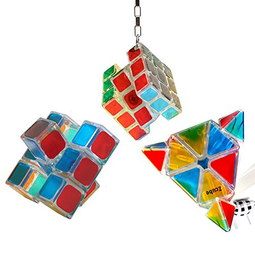 EasyGame - [3 paquete] Magic Cube Set, Crystal Pyraminx Cube, 133 Floppy Speed Puzzle, Portable Pendant Cube (3 in 1)