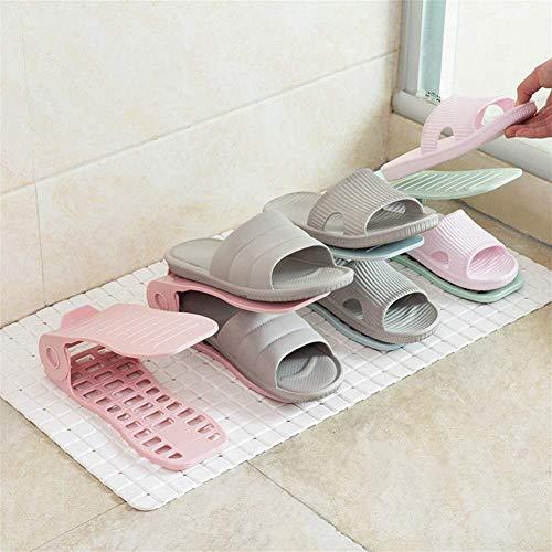 (25 * 10 * 17 cm) Zapatero Ajustable de Doble Capa, Soporte de plástico Simple para Zapatos, Estante, Estante de Almacenamiento de Zapatos Integrado Que Ahorra Espacio en el hogar (Color: Rosa, Tama