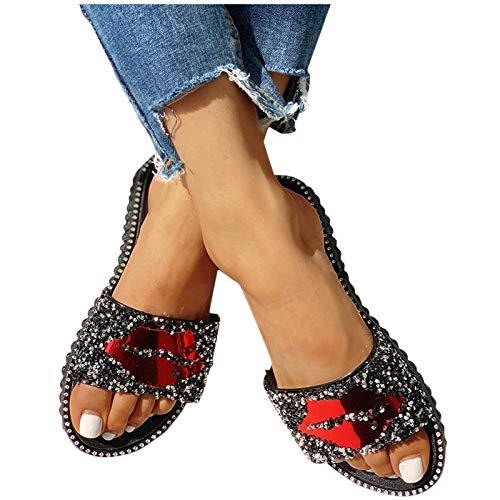 feftops Sandalias Planas de Mujer Casuales Rhinestone Chanclas Zapatillas Verano Moda Hebilla Correa Punta Abierta Plana Sandalias de Playa Zapatos de Todo FóSforo