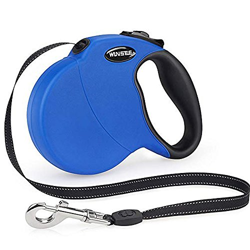 WINSEE Retractable Dog Leash,16ft Dog Walking Leash for Large Medium Small Dog Up to 110lbs, Reflective Ribbon Cord, Break & Lock System (Blue)
