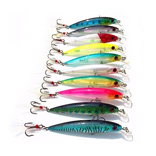 lzndeal Señuelo de 10 Piezas, Señuelo para Pescar,de Material ABS,Kits de Señuelos con Dos anzuelos,con Ojos de 3D,de Colores llamativos