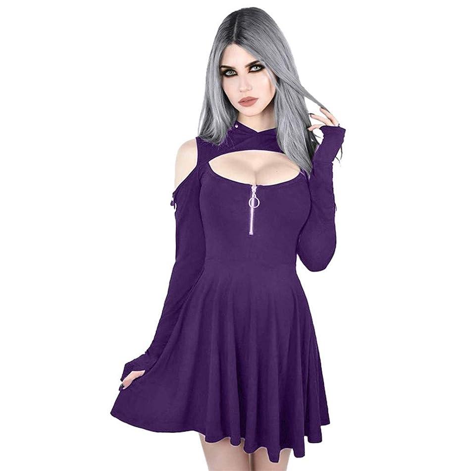 Lotus.Flower Women's Fashion Gothic Pure Color Hooded Low Cut Cold Shoulder Zippe Mini Dress Ladies Casual Dress