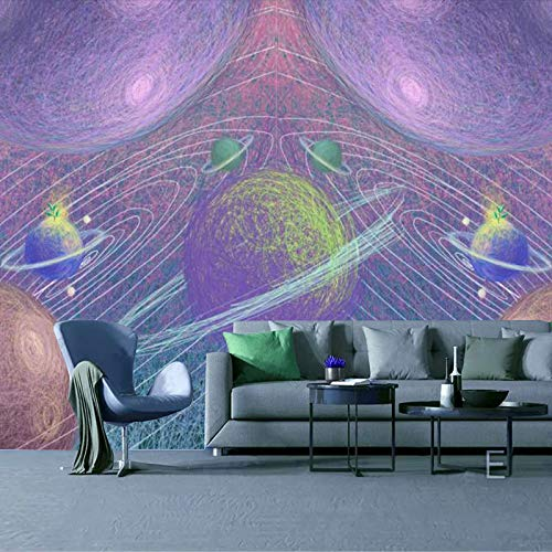 Leekkoka Mural Wallpaper Planet Galaxy Olie Schilderen Stijl Mural Thema Hotel Cafe Wandbekleding Restaurant Thee Shop Retro Kinderkamer Behang 400cm*280cm(H)