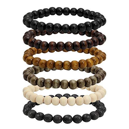 MILAKOO 6 Stück 8mm natürliche Holzperlen Armband für Männer Frauen Lava Rock Armband für Öl Diffusor
