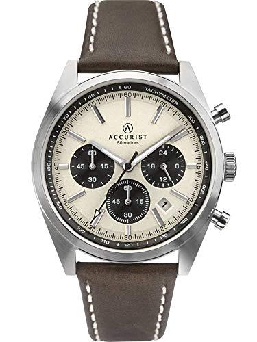 Accurist Herren Chronograph Quarz Uhr mit Leder Armband 7275