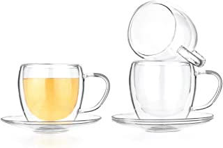 Best clear glass coffee cups and saucers Reviews