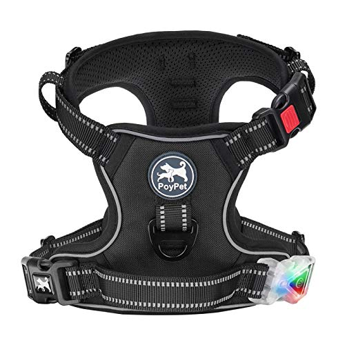PoyPet LED Flashing Light No Pull Dog Harness, Reflective Adjustable No Choke Pet Vest with Front & Back 2 Leash Attachments(Classic Black,L)