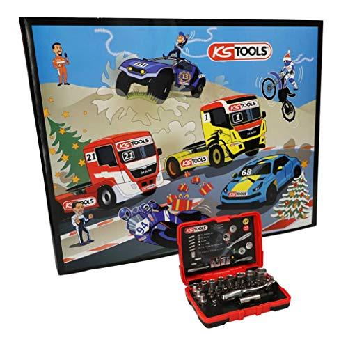 """KS Tools 999.6667 - Calendario de Adviento con herramienta al día, caja de vaso de 1/4"""", 33 piezas, regalo original para hombre en Navidad para los aficionados"""