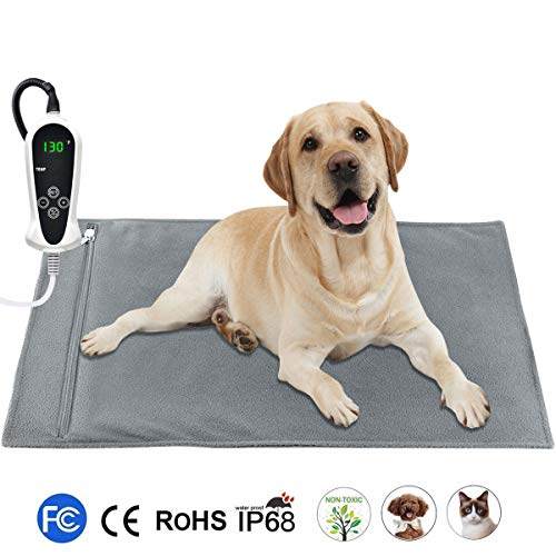 """RIOGOO Pet Heating Pad, Upgraded Electric Dog Cat Heating Pad Indoor Waterproof, Auto Power Off (X-Large: 32""""x 20"""")"""