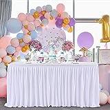 Blanche Polyester Jupe de Table Blanc Polyester Jupe de table Maille Moelleux Table de Plinthe pour la fête, mariage fête d'anniversaire douche de bébé décoration de la Maison(2Yard/6ft/L183cm*H77cm)