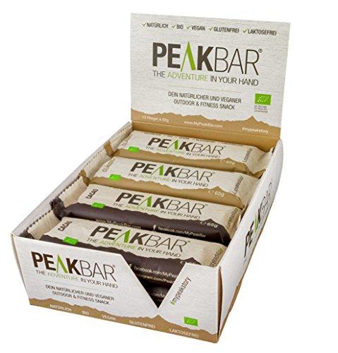 PeakBar Mixed Box- veganer BIO Energie-Riegel als natürlicher Snack mit Protein (bio, vegan, natürlich, ohne zucker-zusatz, glutenfrei, laktosefrei) - 12 St. x 65gr.