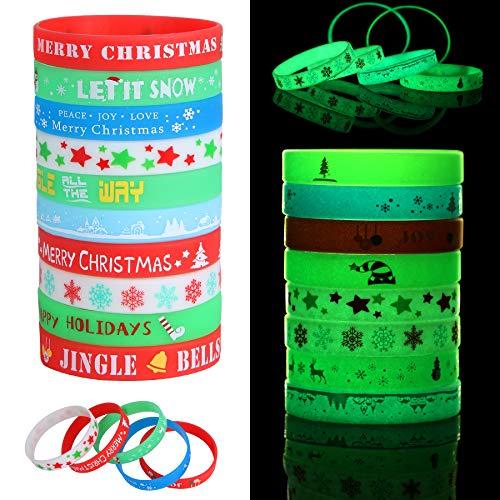 20 Pcs Christmas Luminous Silicone Bracelets Rubber Wristband 10 Patterns for Xmas Party Favor Decoration