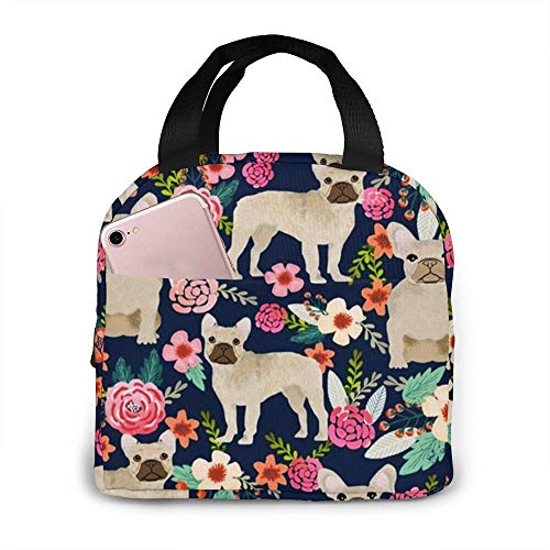 French Bulldog Floral Fawn Frenchie Large Format Lunch Bag Tote Bag Office Work School Party Boating Fishing Picnic