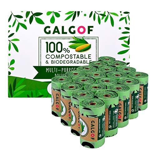 Bolsas de basura biodegradables e higiénicas para caca y heces de perro. 20 Rollos perfumados, compostables y ecológicos para residuos y excrementos de mascotas (300 uds.). Muy resistentes (Verde)