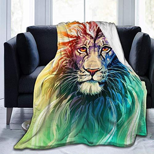 Cobija de león con estampado de animales, hipster, colores arcoíris, ultra suave, para cama, sofá, sala de estar, uso en todas las estaciones, 127 x 102 cm