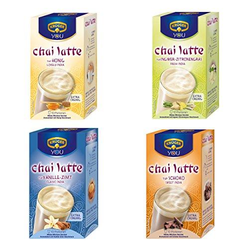 Krüger Chai Latte 4er Set, mildes Milchtee Getränk, vier verschieden Sorten