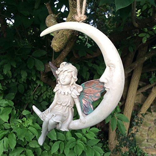 Hada del bosque de atrapador de sueños Faye cobre blanco con alas Escultura Figura decorativa Art Deco niña jardín decoración para el hogar regalo H15cm