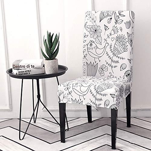 Qier Stuhlhussen Stretch Chair Schonbezug, Elastic Spandex Furniture Sitzdekoration, Dining Hotel Büro Bar Chair Protector Covers, Blumendruck, Hellgrau, 6Er-Set