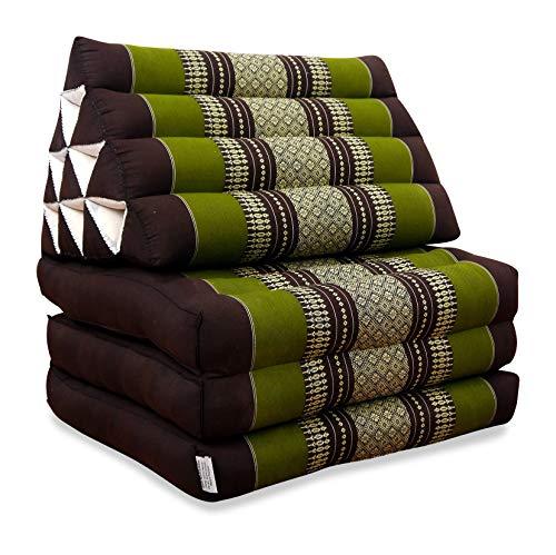 livasia Thaikissen mit 3 Auflagen, Kapok Dreieckskissen, Sitzkissen, Liegematte, Thaimatte (braun/grün)