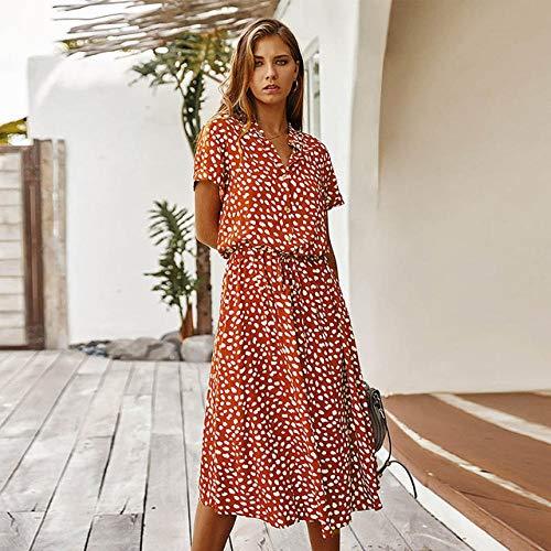 Ts Polka Dot Print Vrouwen Jurk Hoge Taille Sjerpen A Line Zomerjurk Met Korte Mouwen Single (Color : A01, Size : M)