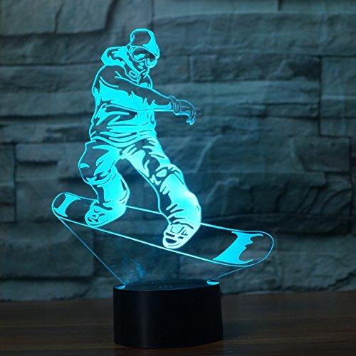Jinson well 3D snowboarden Lampe optische Illusion Nachtlicht, 7 Farbwechsel Touch Switch Tisch Schreibtisch Dekoration Lampen perfekte Weihnachtsgeschenk mit Acryl USB Spielzeug