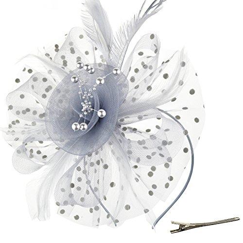DRESHOW Fascinators Hut Blume Mesh Bänder Federn auf einem Stirnband und einem geteilten Clip Cocktail Tea Party Headwear für Mädchen und Frauen,Grey,Einheitsgröße