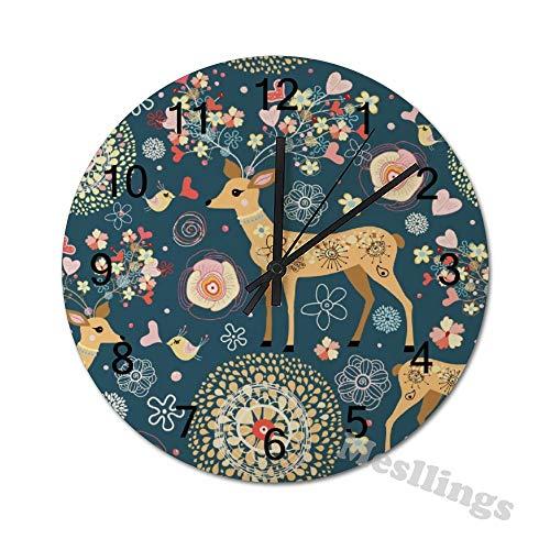 Mesllings Wanduhr, nahtlos, fabelhafte Hirsche, runde Holz-Wanduhr, Wanddekoration, Uhren für Küche, Büro, Retro-Wanduhr, Heimdekoration, Zubehör