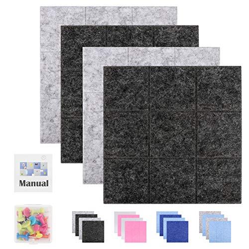 SEG Direct 30 cm x 30 cm Große Quadratische Filz-Pinnwand | Memotafeln, Schwarzes Brett und Notizbrett für das Büro | Dekorative Pinnwand für Kinder 4er-Set mit 15 Druckstiften | 2 Grau und 2 Schwarz
