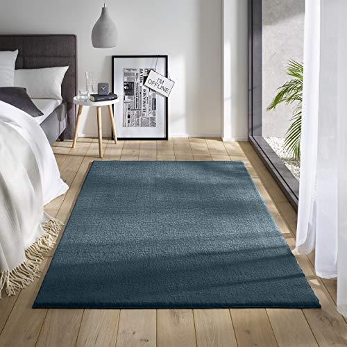 Teppich Wölkchen Waschbarer Teppich mit Anit-Rutsch I Flauschiger Kurzflor für Badezimmer, Kinderzimmer oder Flur Läufer I Einfarbig, Schadstoffgeprüft, Allergikergeeignet   Blau - 80 x 150