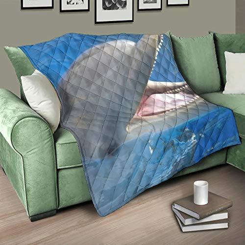 Manta para bebé con diseño de animales y Dolphin (200 x 230 cm), color blanco