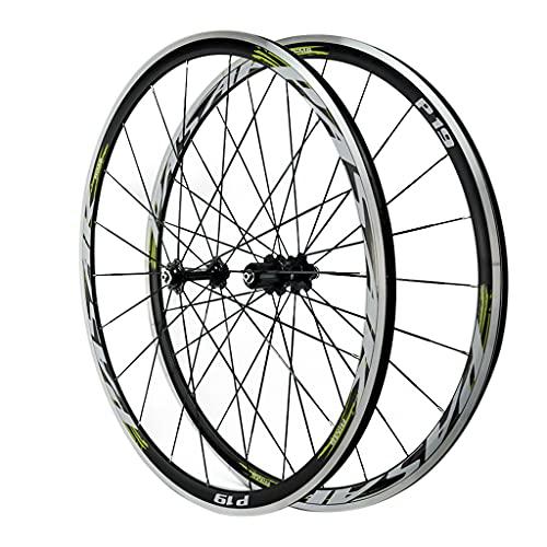 LICHUXIN Rueda de Bicicleta de Carretera 700C Ruedas QR de Aleación de Aluminio Freno C/V Juego de Ruedas de Bicicleta de Doble Pared 7-12 Velocidad (Color : Green, Size : 700C)