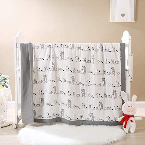 SCJ Baby Kids Quilts Bettdecke 100prozent Baumwolle 400 Fadenzahl Tagesdecke Grauweiß Sommerdecke Decke Niedlicher Bär Gesteppte Tagesdecke für Kinderbett 47