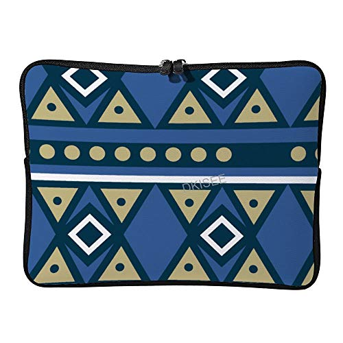 DKISEE Diamond Triangle Ethnic Tribal Pattern Laptop Sleeve for Women Men, Compatible with 13 Inch MacBook Air/MacBook Pro Notebook Two-way Zippers Laptop Carrying Bag Case Cover