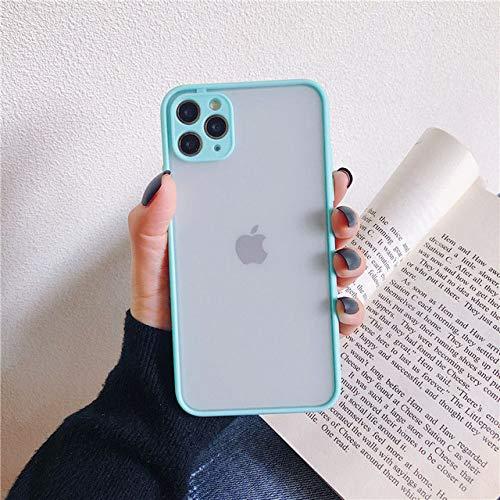 WEIYYY Estuche para teléfono para iPhone 12 Mini 11 Pro X XR XS MAX 6 6s 7 8 Plus SE 2 Protección de cámara de Moda Color Caramelo PC Duro para iPhone 12, Azul, para iPhone 8