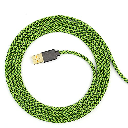 Paracord Mouse Cable for Gaming Mice (Green 180, Razer Viper Mini)